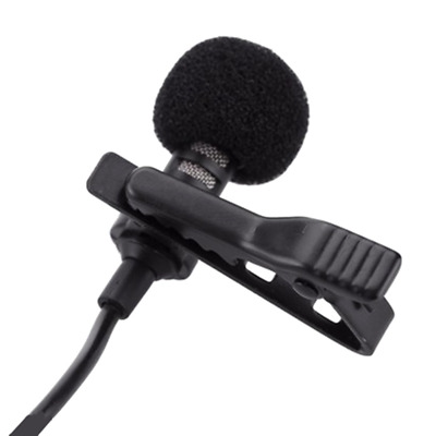 Clip On Lapel Microphone Hands Free Wired Condenser Mini Lavalier Mic 3.5mm Plug