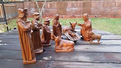 RARE Beautiful 10 pc Vintage Hand Carved Wood Nativity Set-Great Detail - Large
