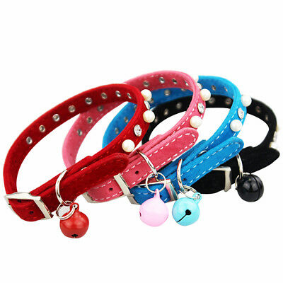 Adjustable Cat Collar PU Leather With Safety Buckle Bell Pet Puppy Kitten Collar