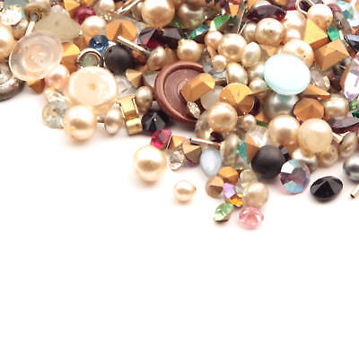 Lot Czech vintage assorted glass rhinestones cabochons buttons faux pearl beads