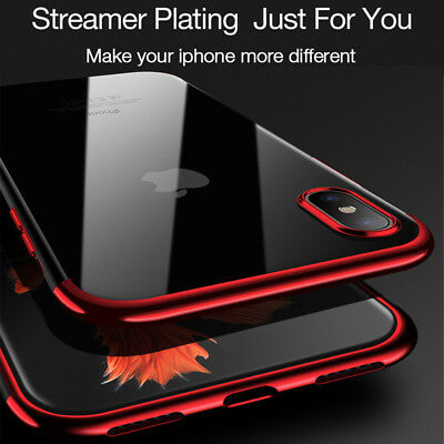 Ultra Slim Plating Silicone Soft Clear Case Cover For iPhone X XR XS MAX 8 Plus