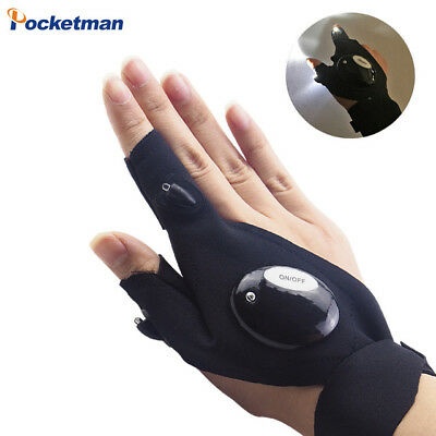 Glove LED Flashlight Torch Outdoor Fishing Magic Strap Fingerless Cover Survival