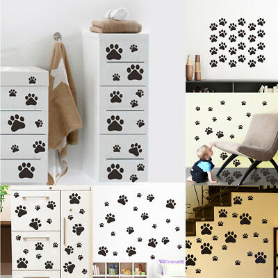 NEW Dog Paw Print Decals Pet Animal Wall Window Floor Stickers Big Set Decor