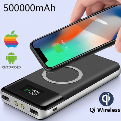 Qi Wireless 500000mAh Power Bank Dual-USB Battery Charger with LCD Digital & LED