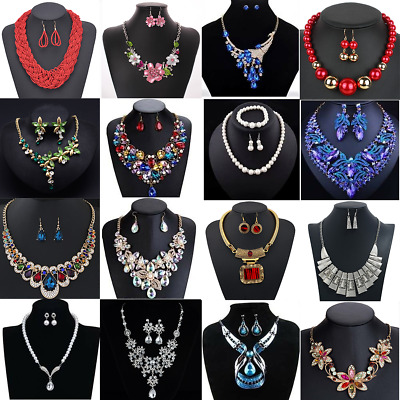 Women Fashion Crystal Bib Choker Chain Statement Necklace Earrings Jewelry Set