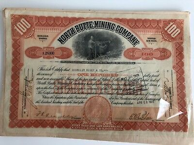 Stock Certificate 1922 North Butte Mining Company $15 Minnesota 100 shares.