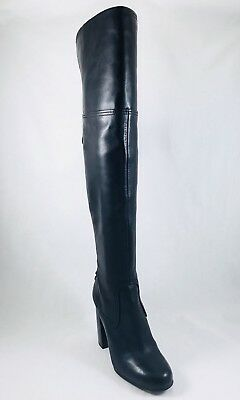 0ae36edfc723 Vince Camuto Tolla Laced Over the Knee Boots Black Leather Flare Heel Size  5.5
