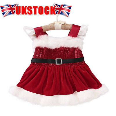 Baby Girls Christmas Xmas Santa Claus Party Dress Outfit Costume Holiday Gift