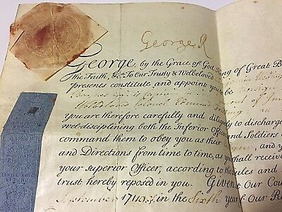 X Rare King George I of England Signed Royal Document w Seal Stamp 1720
