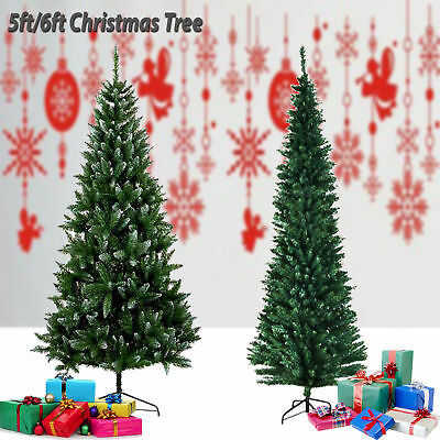 Large Pencil Slim Frosted 5ft 6ft Green Artificial Christmas Tree Snow Tips Xmas