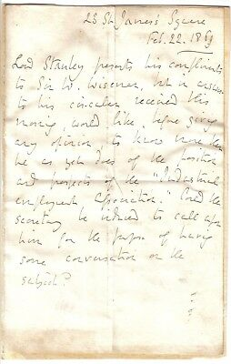 Earl of Derby - 1869 letter as Lord Stanley re Industrial Employment Association