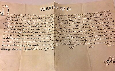 Beautiful Papal Bulla in the Name of Pope Clement XI 1713 Document