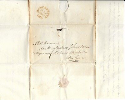 Pre-Stamp Cover with Letter, Howard's of Cheshire, 1823