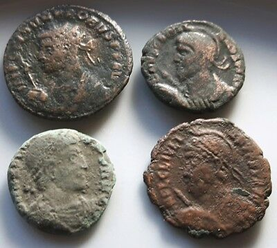 Lot Of 4 Ancient Roman Bronze Coins Probus Julian Ii Apostate