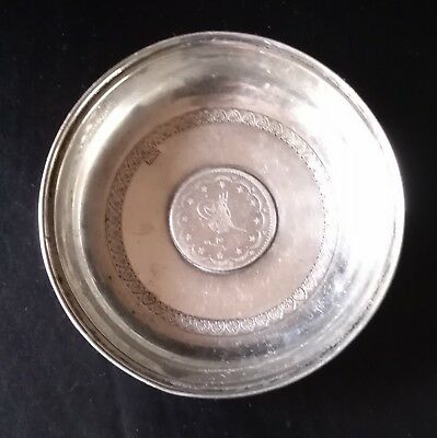 Sottobottiglia Argento 800 Solidsilver Antique Turkey Ottoman Tugra Coin Coaster
