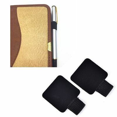 Creative Traveler Diary Notebook Self-adhesive Type Leather Pen Holder Clips