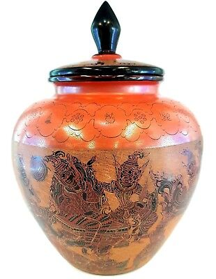 lacquerware Burma Vintage Handmade Ornate Bowl Jar mythical 12 Zodiac animal Old