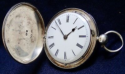 Working Solid Silver HUNTER Verge Fusee Pocket Watch London 1843
