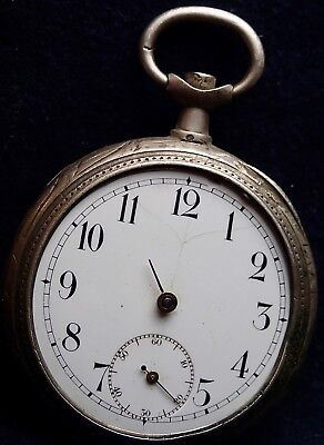 OMEGA  Solid Silver Swiss Pocket Watch for Spares / Repairs circa 1914
