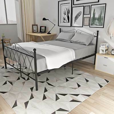 Classic Metal Bed Frame Stylish 3FT SINGLE / 4FT6 DOUBLE Bedstead In Black
