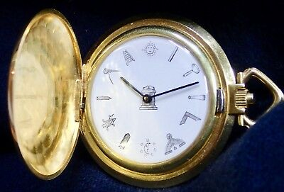 Good Working MASONIC DIAL HUNTER Gold Plated Pocket Watch 1960`s