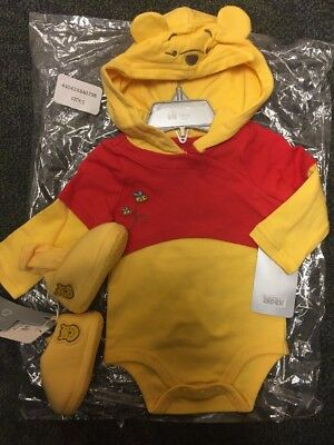 Disney Store Winnie The POOH Baby 3-6 Mo Bodysuit Costume W/booties Shoes