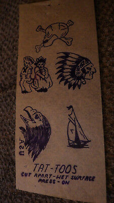VINTAGE 1940S TATTOO Flash Art Tissue Paper Temporary Transfers ...