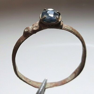 Medieval Bronze Ring ** With Real Natural blue SAPPHIRE ** RARE !!