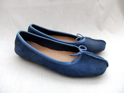 2f5cb4d82 New Clarks Freckle Ice Womens Soft Blue Nubuck Leather Shoes Size 7   41