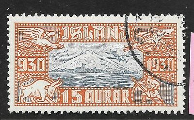 Iceland, C-4, 1930 15 Au airmail, CTO?, as taken from a collection.