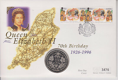 Isle Of Man Pnc Coin Cover 1996 Queen Elizabeth Ii 70Th Birthday 1 Crown Coin