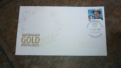2004 AUSTRALIAN OLYMPIC GOLD MEDAL STAMP FDC, IAN THORPE 200m, CANBERRA PM