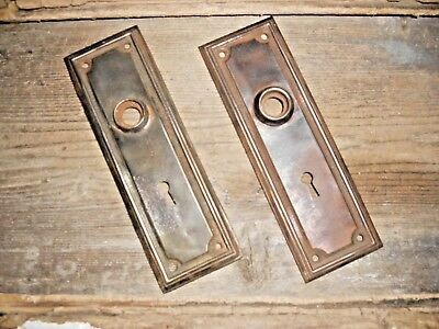Vtg Steampunk Mission Raised Edge Rustic Aged Patina Shabby Door Knob Backplates