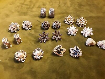 Job Lot Of 10 pairs of sparkly  genuine vintage/retro  clip on earrings