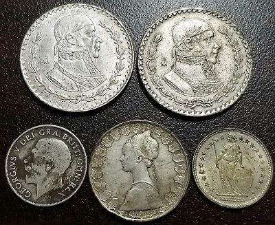 Collecto Lot × 5 World Silver Coins: Mexico, Great Britain, Italy, Switzerland