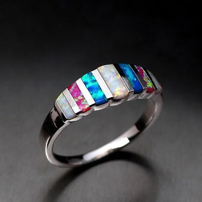 925 Multi-color Ring 6-10 Rings Wedding Opal Silver Filled Size Women Gorgeous