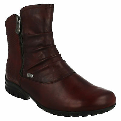 0747eaff1a864 Z4663 Rieker Tex Ladies Leather Zip Warm Everyday Winter Ruched Ankle Boots  Size