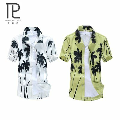 Hawaii Style Men Shirt Quick Dry Summer Beach Party Tops Coconut Palm Print NP