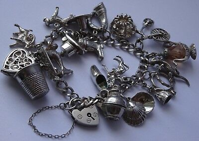 Gorgeous vintage solid sterling silver charm bracelet & 20 charms, open, moving