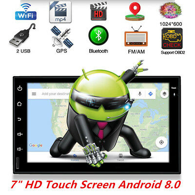 "2 DIN 7"" Android 8.0 Bluetooth USB Car Stereo Radio AM/FM MP5 Player GPS Wifi"