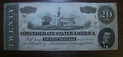 1864 $20 Confederate States of America Note # 37420 - VC-UNC