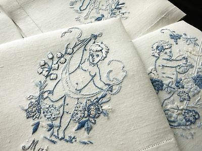 Sweet Cherubs for Every Month Antique Linen Napkins Hand Embroidered - Set of 12
