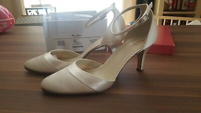 Brautschuhe Amanda Weiß Ivory Satin Gr. 39 UK 6 Rainbow Club Pump