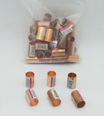 "50 PC Nibco 1/2"" Wrot Copper Coupling Dimple Stop Pressure Fitting Adapter NOS"