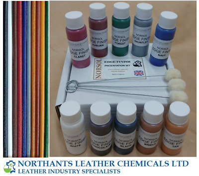 Norsol Leather Edge Finish Presentation Set, Dye, Paint, Coat, Colourant, Stain.
