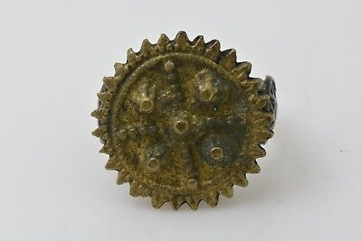 Medieval Crusader or Templar bronze ring cross decorated 1300 AD US size 9 1/2