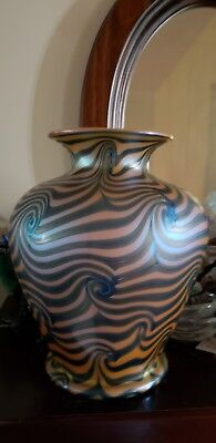 Huge,antique Durand Swirl King Tut Art Deco  Glass  Vase