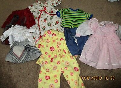 Vintage Group Lot Doll Clothes Fits American Girl Size Dresses, Jeans, Pjs ,top