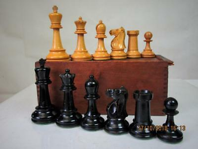 ANTIQUE VINTAGE CHESS SET CLUB WEIGHTED SUTTON COLDFIELD ?  K 110 mm AND BOX