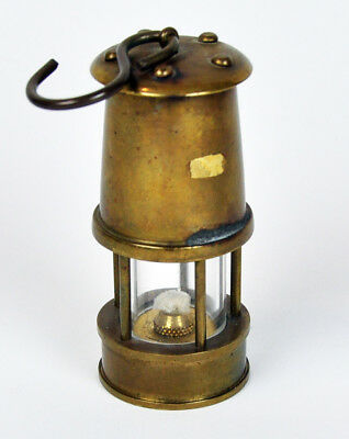 Salesman Sample Gold Mining Mini Carbide Safety Lamp Lantern Heavy Brass w/ Hook